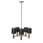 Waterworks Montecito Ceiling Mounted Chandelier with Perforated Shades in Unlacquered Brass