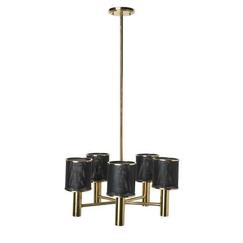 Montecito Ceiling Mounted Chandelier with Perforated Shades in Unlacquered Brass