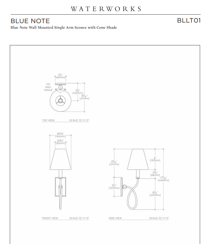 Waterworks Blue Note Wall Mounted Sconce in Chrome