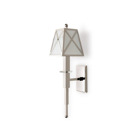 Waterworks Fairfax Single Arm Sconce with Glass Shade in Nickel