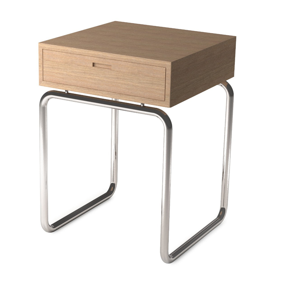 "Waterworks Formwork 14"" x 14"" x 19 1/2"" Side Table in Stainless Steel / Oak"