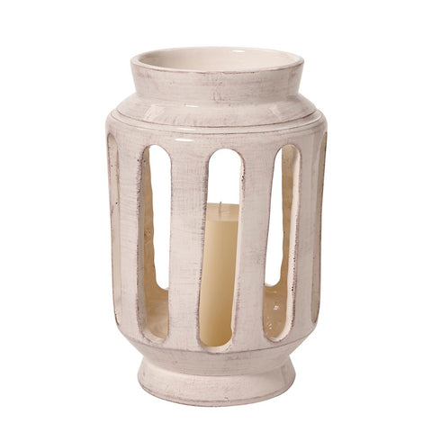 Waterworks Terrazzo Small Ceramic Lantern in Cream