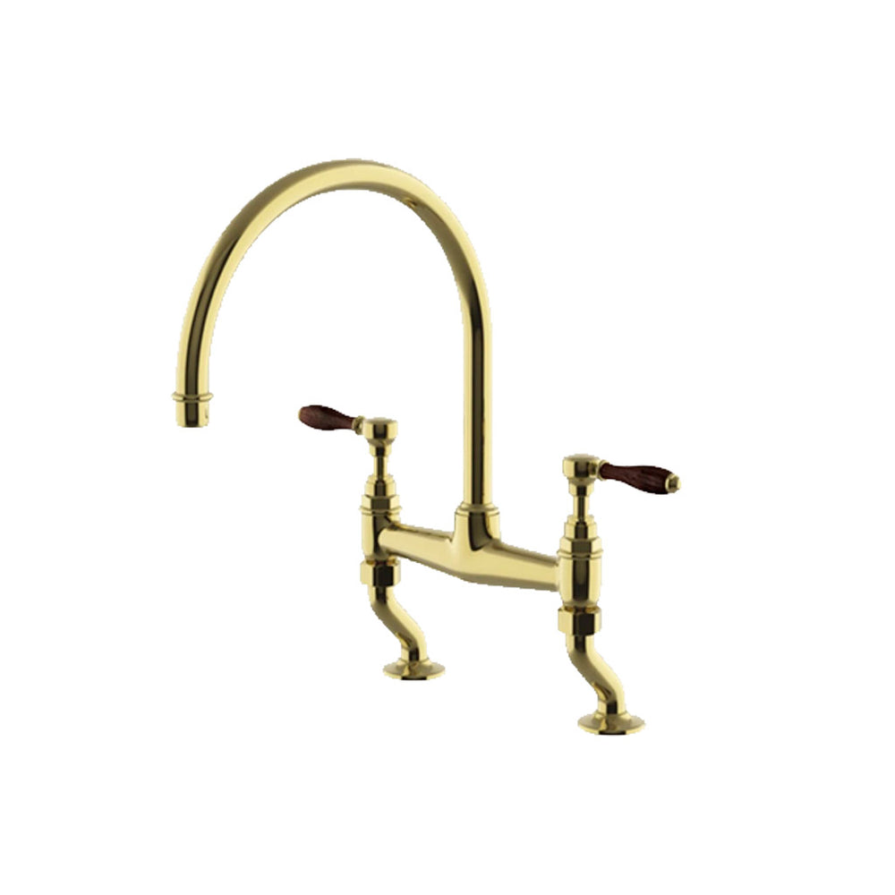 Waterworks Easton Vintage Two Hole Bridge Gooseneck Kitchen Faucet, Oak Lever Handles in Unlacquered Brass