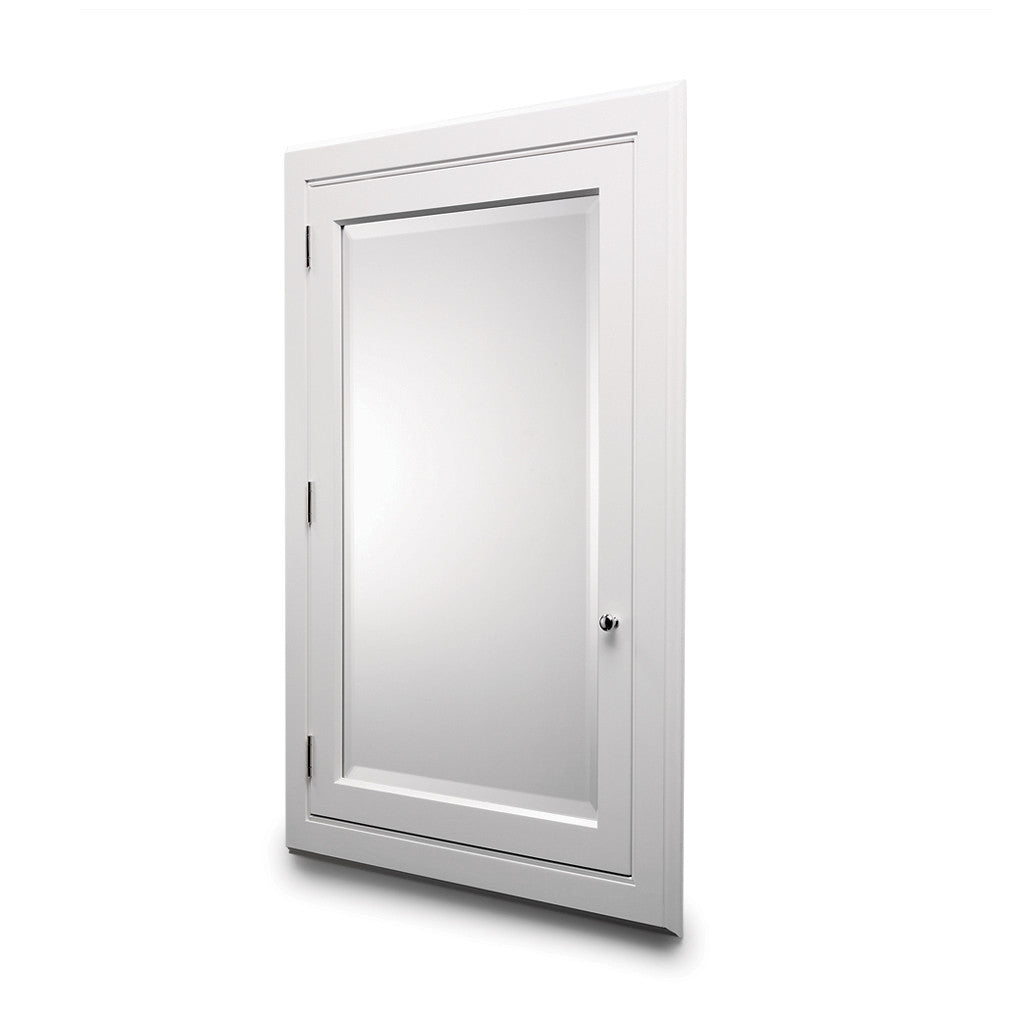 Waterworks advance recessed wood medicine cabinet in white