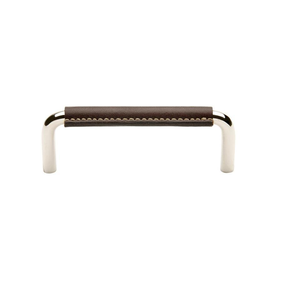 "Waterworks Abbott 4"" Chocolate Leather Pull in Unlacquered Brass"
