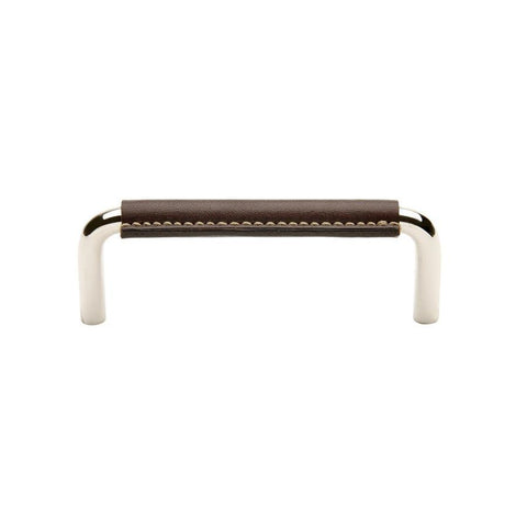 "Abbott 4"" Chocolate Leather Pull in Nickel"