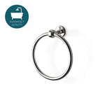 "Waterworks Crystal 7"" Brass Towel Ring in Nickel"