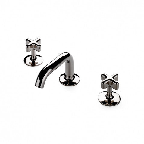 Waterworks .25 Deck Mounted Lavatory Faucet with Cross Handles in Chrome