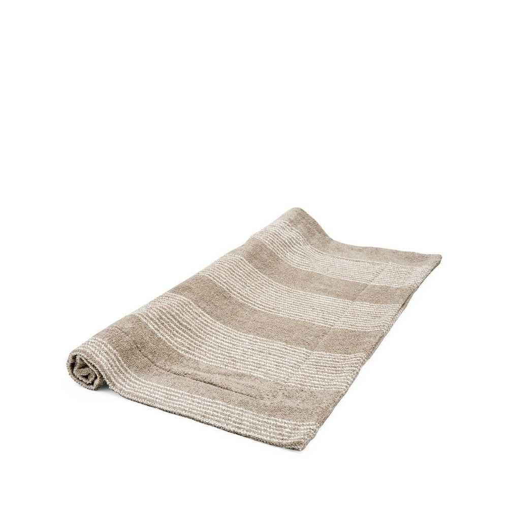 Waterworks Tasha Bath Mat in Tan with Cream Stripes