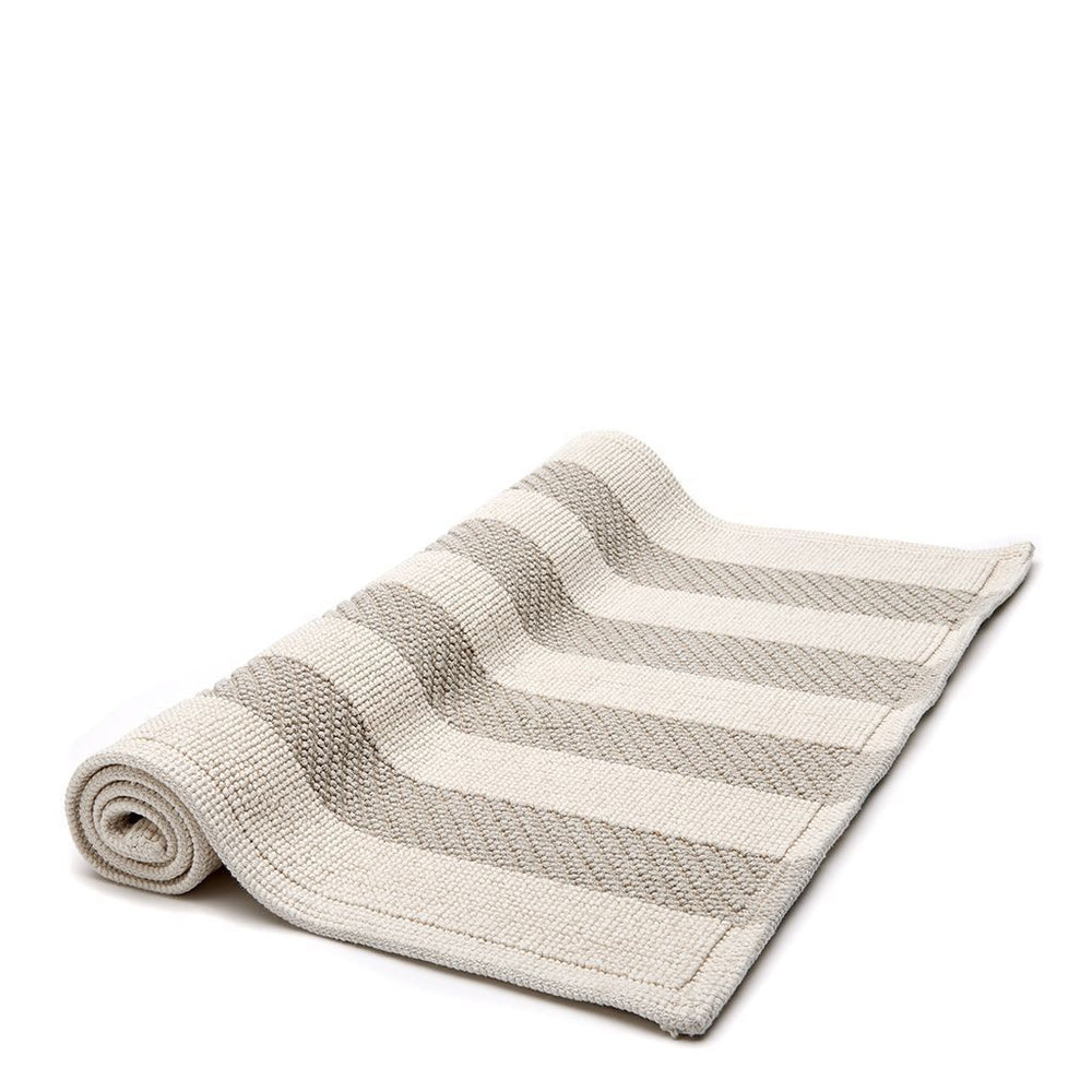 "Waterworks Aquidneck Striped 21"" x 39"" Bath Rug in Cream/Natural"