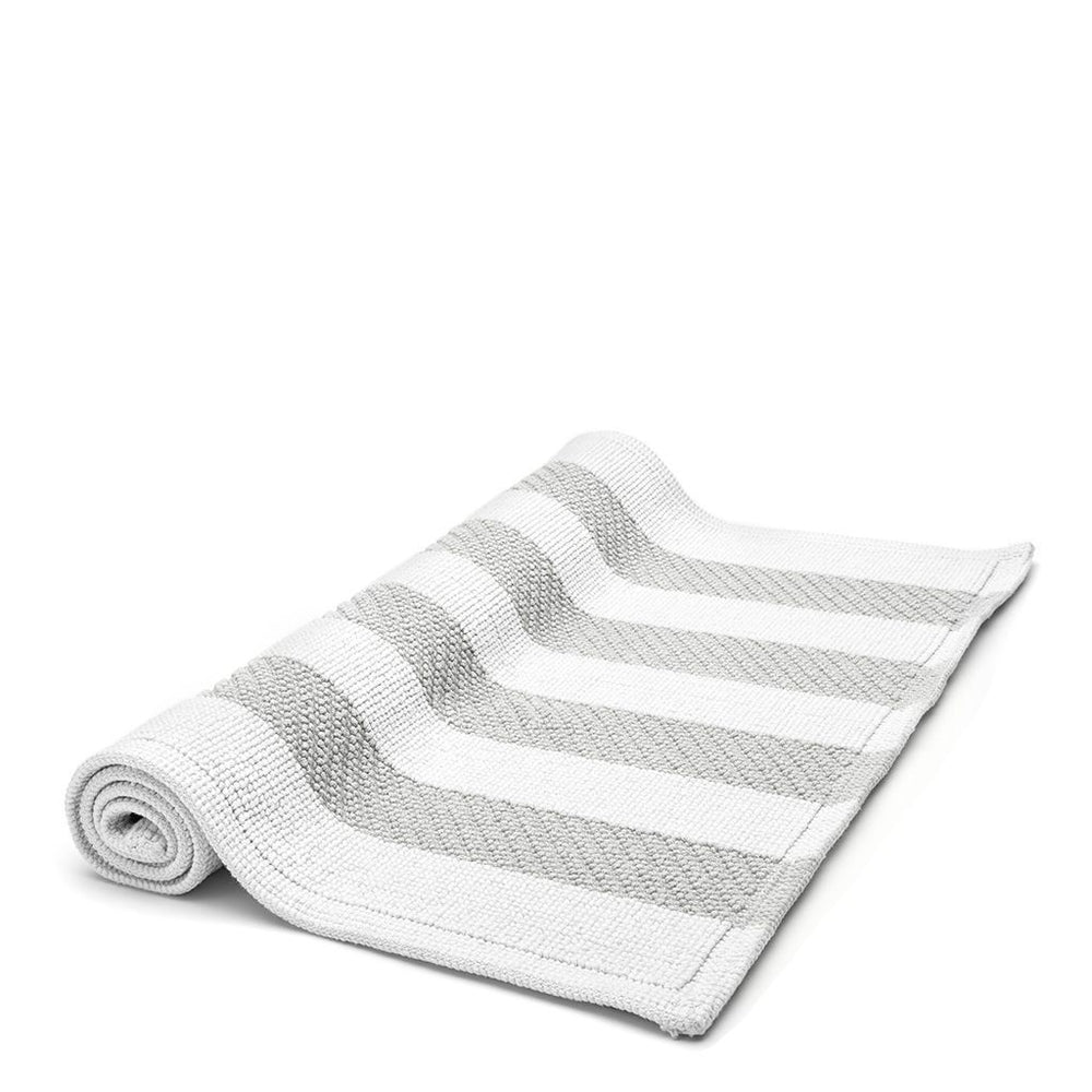 "Waterworks Aquidneck Striped 29"" x 55"" Bath Rug in White/Gray"