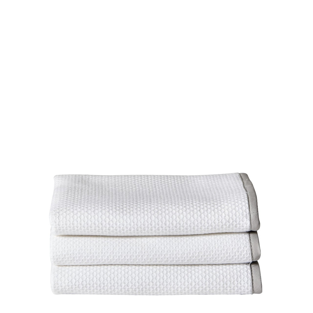 Waterworks Marseille Wash Towel in White/Pearl
