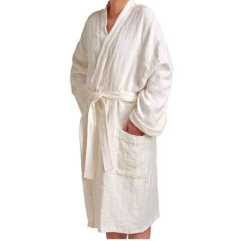 Waterworks Small Unisex Linen Robe in White