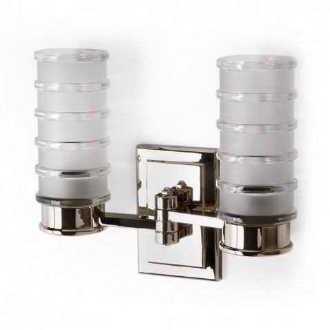 Waterworks Electra Wall Mounted Double Arm Sconce with Glass Shades in Chrome