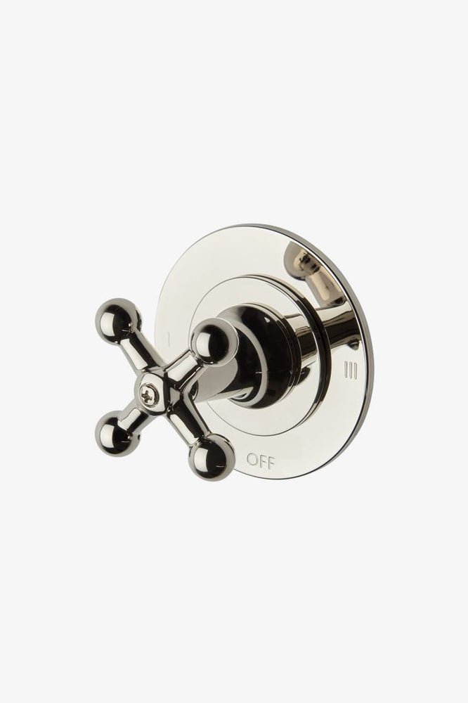 Waterworks Dash Two Way Diverter Valve Trim with Roman Numerals and Metal Cross Handle in Nickel
