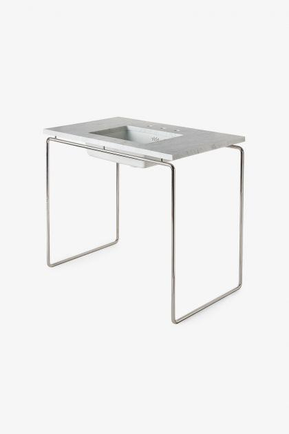 "Waterworks Formwork Single Washstand 42"" x 24 3/8"" x 32 3/4"" in Stainless Steel"