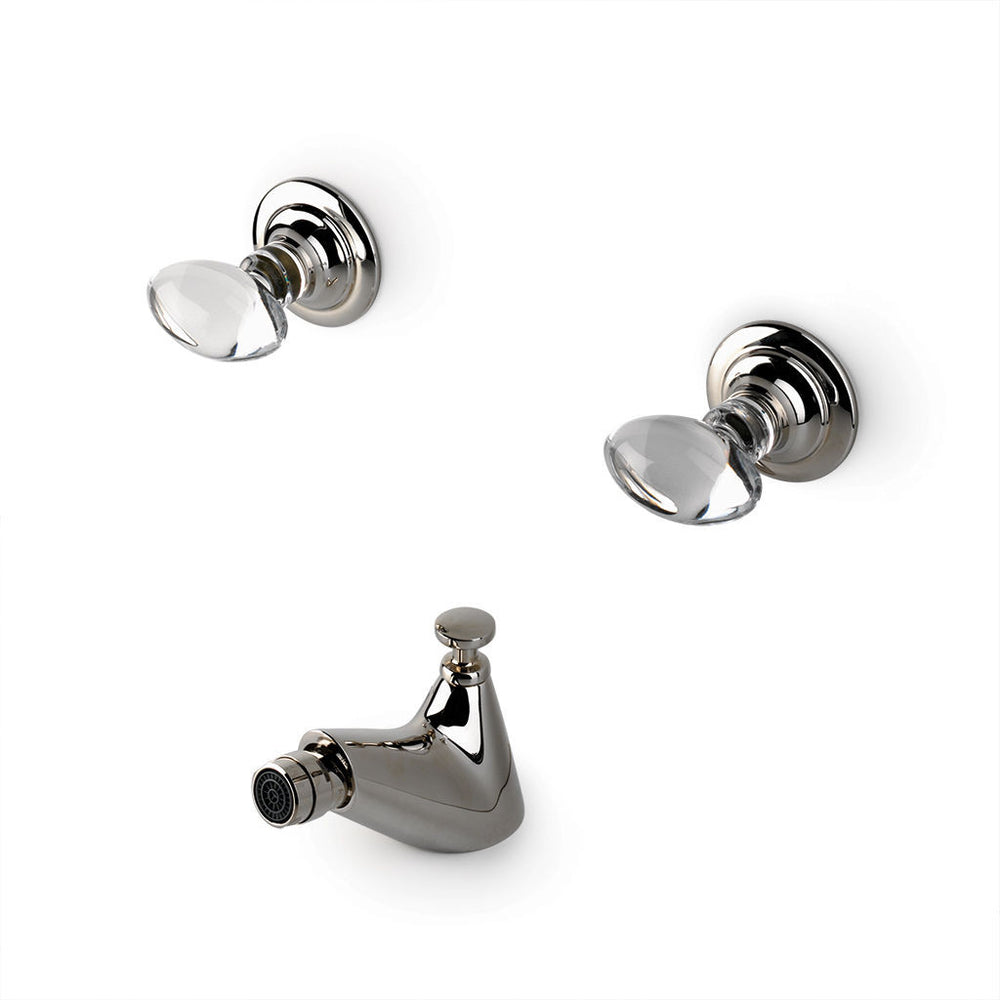 Waterworks Opus One Hole Bidet Fitting with Crystal Egg Handles in Nickel
