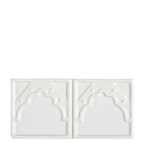 Waterworks Cottage Exton Park Border 3 x 6 in White Glossy