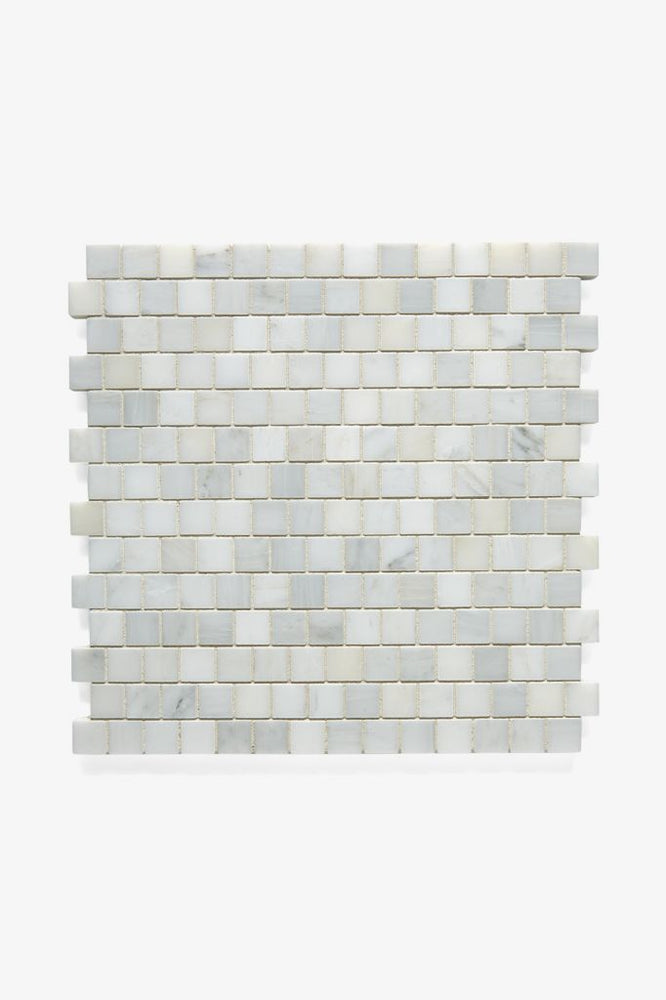 Waterworks Studio Stone 2cm Staggered Mosaic in White Thassos Polished