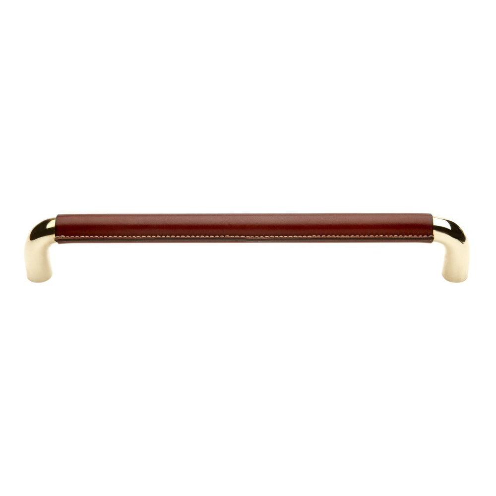 "Waterworks Abbott 12"" Chocolate Leather Appliance Pull in Unlacquered Brass"