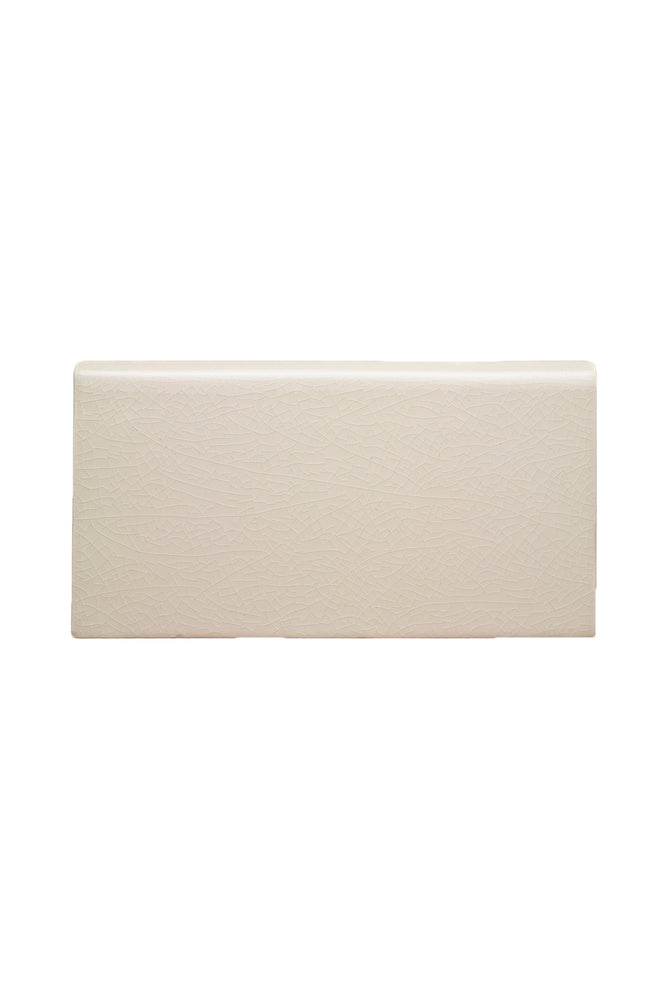 "Waterworks Architectonics Handmade Field Tile 4 1/4"" x 8"" Bullnose Single (Long) in Mykonos Glossy Solid"