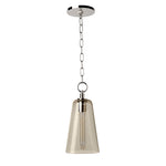 Waterworks Arundel Ceiling Mounted Small Pendant with Smoke Glass Shade in Nickel