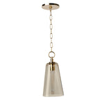 Waterworks Arundel Ceiling Mounted Small Pendant with Clear Glass Shade in Unlacquered Brass