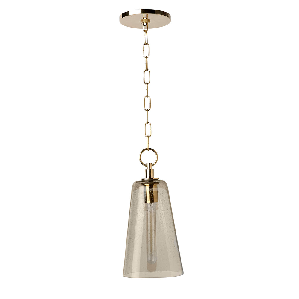 Waterworks Arundel Ceiling Mounted Small Pendant with Smoke Glass Shade in Unlacquered Brass
