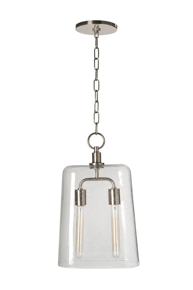 Waterworks Arundel Ceiling Mounted Large Pendant with Clear Glass Shade in Nickel