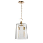 Waterworks Arundel Ceiling Mounted Large Pendant with Smoke Glass Shade in Unlacquered Brass