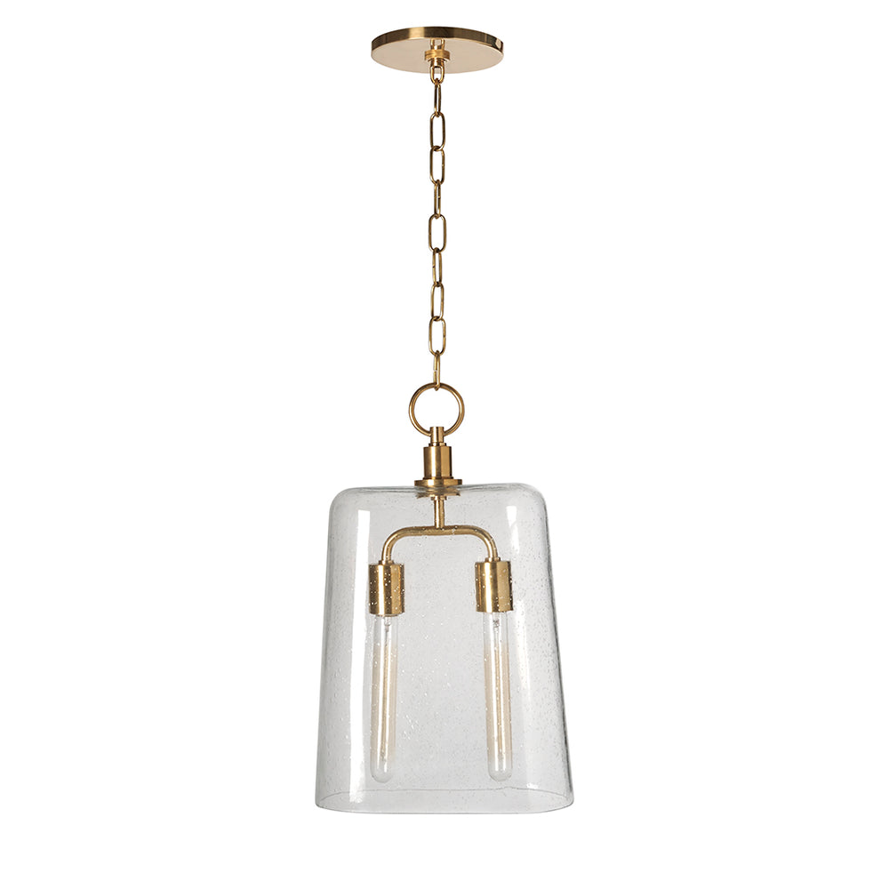 Waterworks Arundel Ceiling Mounted Large Pendant with Clear Glass Shade in Unlacquered Brass