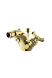 Aero One Hole Bidet Fitting with Metal Cross Handles in Unlacquered Brass