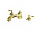 Aero Retro Low Profile Concealed Tub Filler with Metal Lever Handles in Unlacquered Brass