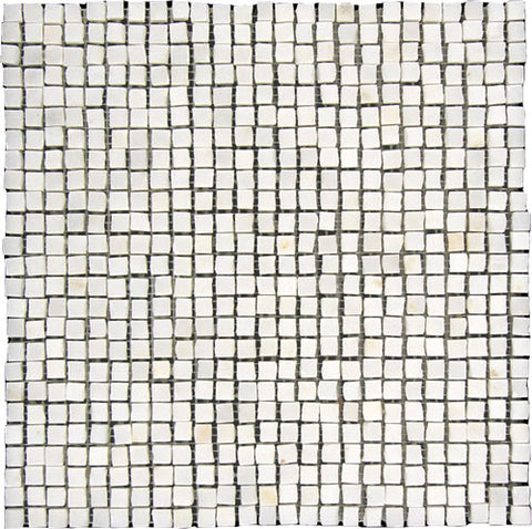 "Stone Partnership 3/8"" Handclipped Mosaic in White"