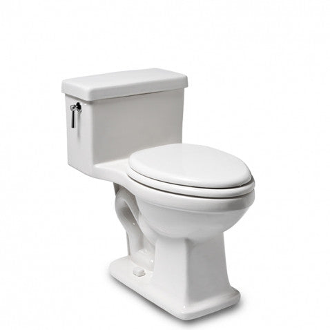 Waterworks Alden One Piece Elongated Toilet with Plastic Seat in Bright White with Unlacquered Brass Flush Lever
