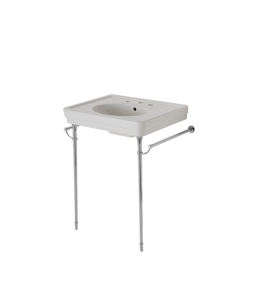 Waterworks Alden Metal Round Two Leg Single Washstand in Matte Nickel