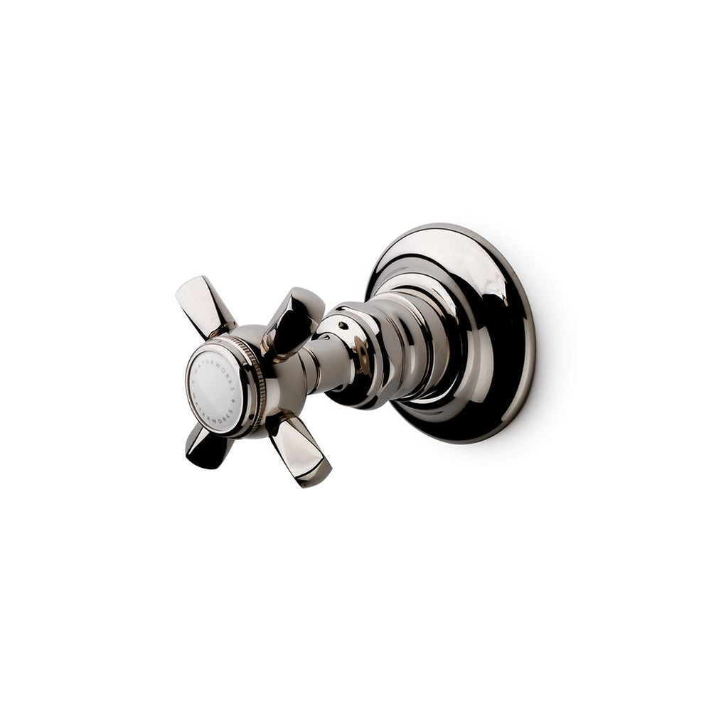 Waterworks Astoria Volume Control Valve Trim with Metal Hexagonal Cross Handle in Chrome