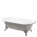 "Beaumont 76"" x 34 1/2"" x 25"" Freestanding Cast Iron Bathtub with Center Drain and Cast Iron Claw Feet"