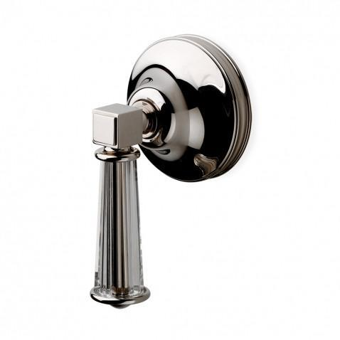 Waterworks Boulevard Volume Control Valve Trim with Crystal Lever Handle in Unlacquered Brass