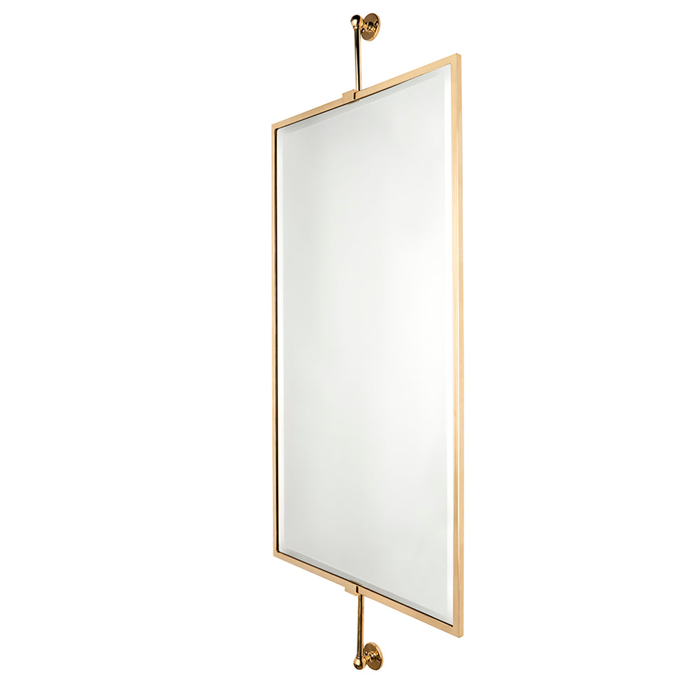 Waterworks Crystal Wall Mounted Mirror on Bar in Unlacquered Brass