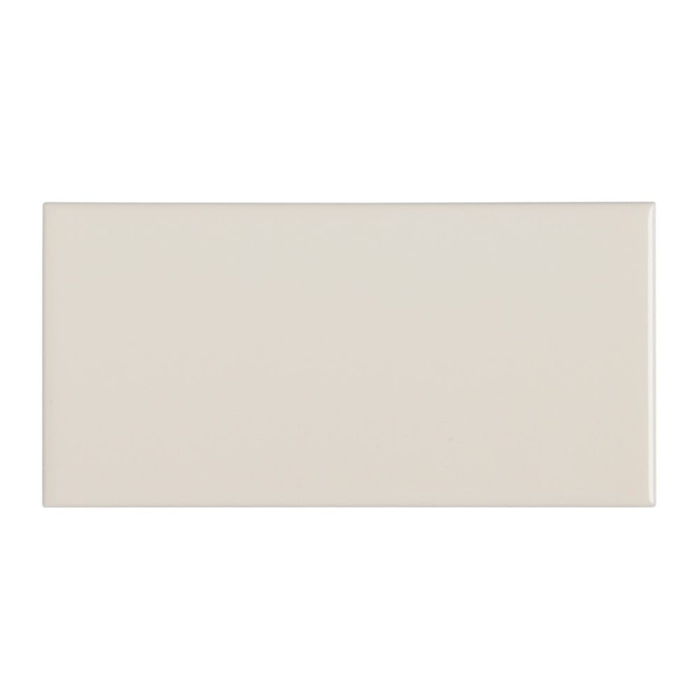 "Waterworks Campus Field Tile 3"" x 6"" Bullnose Single (Short) in Off White Glossy"
