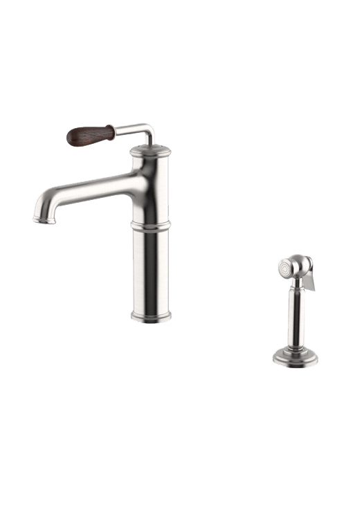 Canteen High Profile Kitchen Faucet with Oak Lever Handle and Spray in Matte Nickel