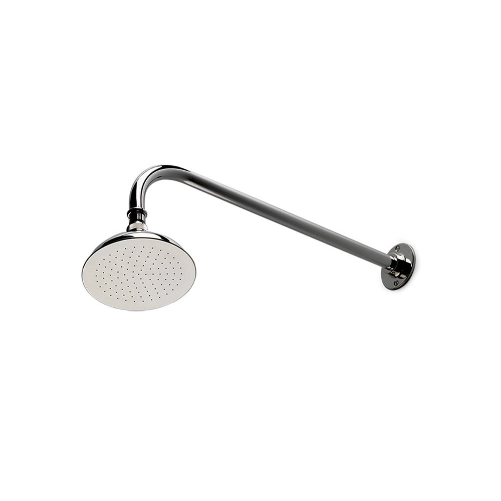 "Waterworks Easton Classic 6"" Shower Rose, Arm and Flange in Unlacquered Brass"