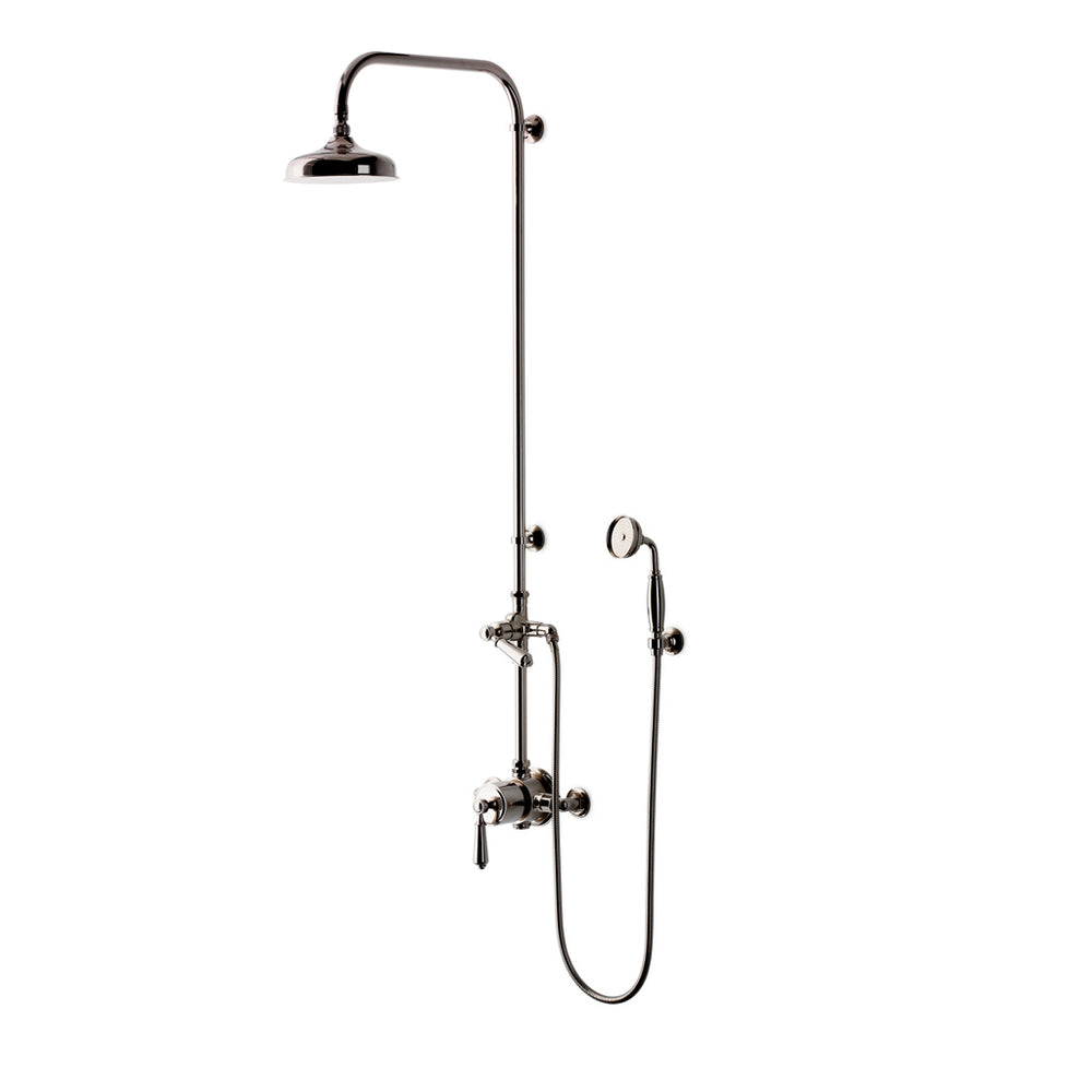 "Waterworks Easton Classic Exposed Thermostatic System with 8"" Shower Rose and Metal Lever Handle in Nickel"