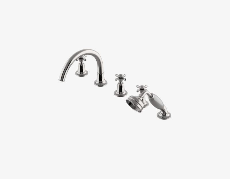 Easton Classic Gooseneck Concealed Tub Filler with Handshower and Metal Cross Handles in Brass