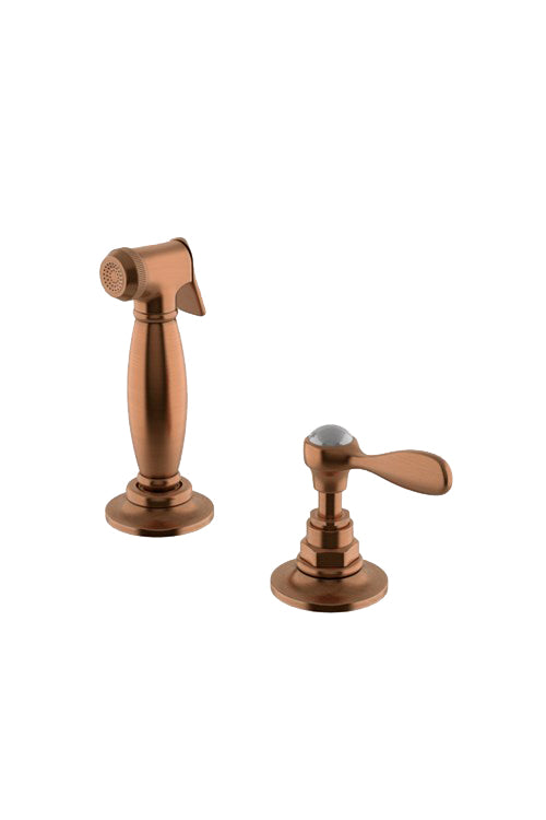 Waterworks Easton Vintage Spray, Metal Lever Handle in Antique Copper