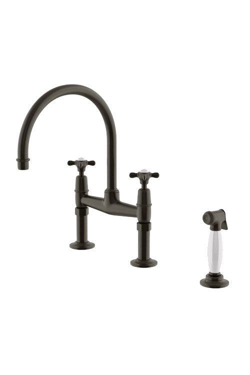 Waterworks Easton Classic Two Hole Bridge Kitchen Faucet, Metal Cross Handles and White Porcelain Spray in Architectural Bronze