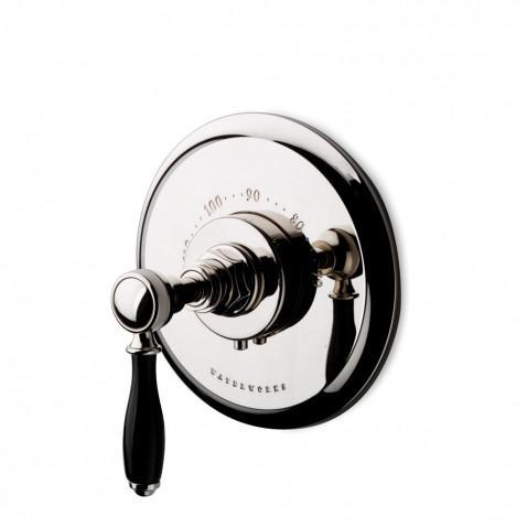 Waterworks Easton Vintage Thermostatic Control Valve Trim with Black Porcelain Lever Handle in Chrome