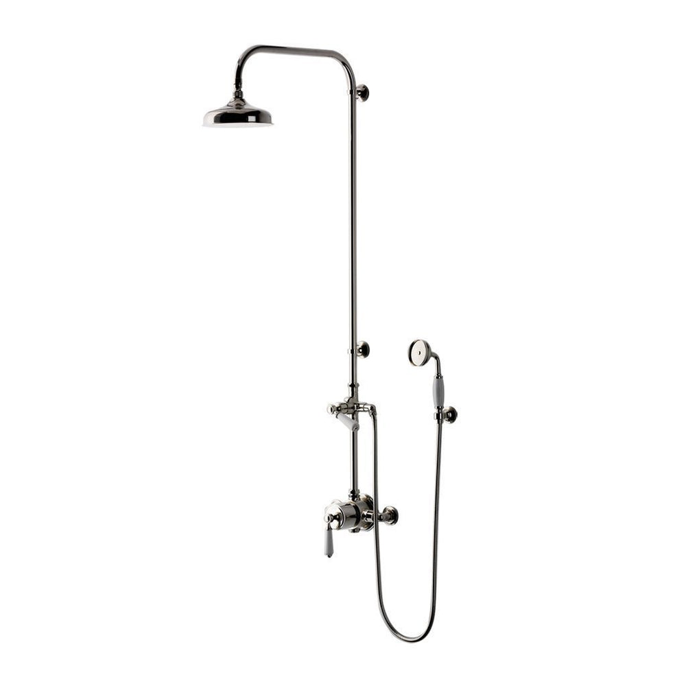 "Waterworks Easton Classic Exposed Thermostatic System with 8"" Shower Rose with White Porcelain Lever Handle in Matte Nickel"