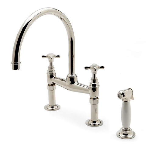 Waterworks Easton Vintage Gooseneck Kitchen Faucet with Spray in Unlacquered Brass